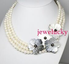 NEW Jewelry 3rows 8mm Real Oval Pearl 33mm shell flower necklace 18 inches