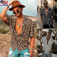 Mens Leopard Print Short Sleeve Shirt Tops Baggy Holiday Summer Button Blouse US