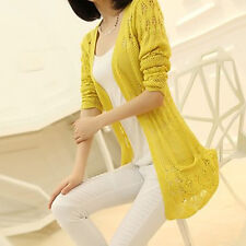 Women Open Knitted Cardigan Hollow Out Crochet Loose Sweater Jacket V Neck New