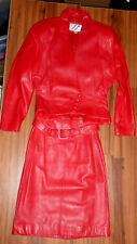 Vintage 80'S Wilsons Red Leather Jacket Skirt Set Jacket Size S Skirt Size 8