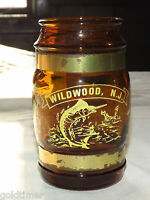 VINTAGE 1960-70S WILDWOOD NJ BEACHES BOARDWALK BROWN GLASS  MUG