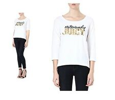 JUICY COUTURE BOATNECK TEE TOP IN WHITE XL NEW $79