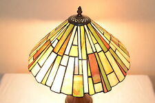 "16""W Zinc Base Mission style Stained Glass Tiffany Style Table Desk Lamp"