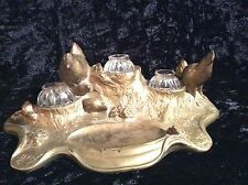 Antique French Gilded Bronze Chickens-Three Well inkwell ca 1900's Signed APuyt