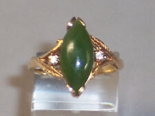 VINTAGE 10K YELLOW GOLD MARQUISE JADE RING WITH WHITE SAPPHIRE ACCENTS