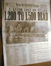 1912 reprint newspaper THE TITANIC SINKS w Best Headline & photo of the DISASTER