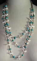 VTG Southwest Tribal Silver Tone Fetish Carved Bird Turquoise Shell Necklace C