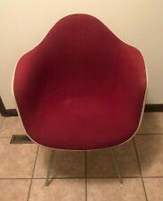 Vintage Herman Miller Fiberglass Shell Red Upholstered Eames Arm Chair