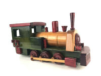 "Colorful Wooden Train Figurine Model Display Toy 8.5"" x 4"" Vintage"
