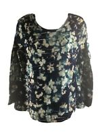 Simply Vera Vera Wang L Blouse Long Sleeves Ruched Watercolor Casual Work