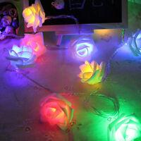 1.2M 10 LED Rose Flower Fairy String Lights Lamp Wedding Garden Party Decor FT