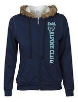 Max Ladies Blue Faux Fur Fleece Lined Printed Hoodie - Sizes - 12/14/16/18