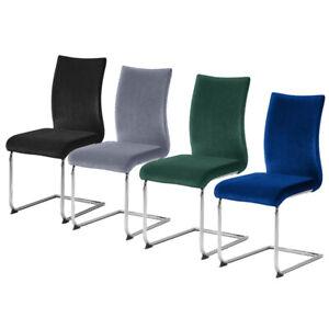 4pcs Velvet Dining Chairs Padded Seat Metal Legs Dining Room Office Black/Grey