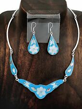 Baby Blue Romantic Garden Party Butterfly MOP Necklace Earring Set Taxco Mexico