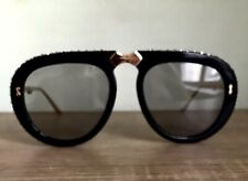 New Gucci Folded Sunglasses Black Gold Crystal GG0307S case cloth Authentic