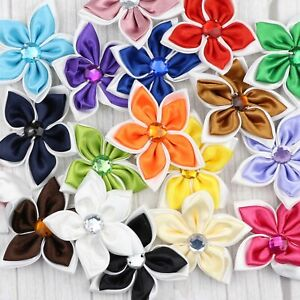 "2"" 10Pcs Satin Ribbon Flower w/Crystal Pentagram Appliques DIY Craft Supplies"