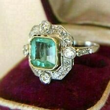 Engagement Ring Vintage Art Deco Style 2 Ct Green Asscher Cut 14K White Gold FN