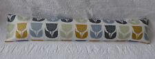 Draught Excluder Cotton Fabric Handmade Saffron Yellow Grey Beige Cream Flower