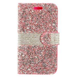 EagleCell Crystal Rock Bling Flip Wallet Case For Motorola Moto E4 - Hot Pink