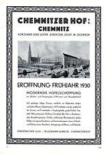 Hotel Chemnitzer Hof Chemnitz XL Reklame 1929 Eröffnung 1930 Werbung Doerrer +