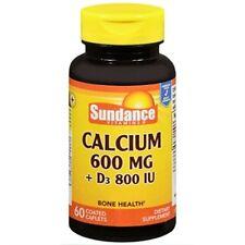 4 Pack Sundance Calcium 600mg Plus Vitamin D3 800IU Caplets 60 Count Each