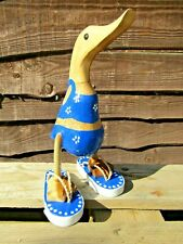 More details for fairtrade hand carved made wooden bamboo root flip flops duck ornament sculpture