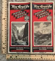 1944 Rio Grande Railroad Time Tables Moffat Tunnel Route Royal Gorge~119459