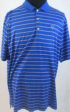 Peter Millar Men's Blue Pink Stripe 100% Cotton Golf Polo Shirt Sun-Burst Logo
