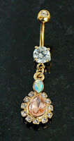 14K Gold Plated CZ Rounded Teadrop Center Dangling Navel Belly Button Ring 14g