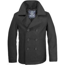 Mens Brandit Pea Coat Uniform Classic Reefer Military Jacket Black XL