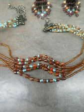 necklace and earrings African tribal handmade seeding