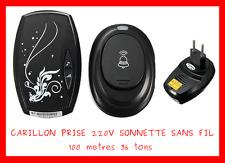 CARILLON 220V + SONNETTE SANS FIL 100m 36 TONS ETANCHE EXTERIEUR MAISON GRATUIT