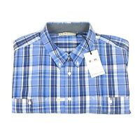 R.M. Williams Mens Short Sleeve Blue/White Check Regular Fit Shirt Size 3XB New