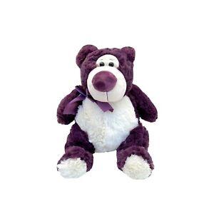 Huggable Toys Purple Teddy Bear Plush Stuffed Toy Hbea-Ann Anna Ribbon 24cm Seat