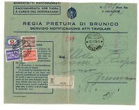 1935 Regia Pretura Brunico Manoscritto RR con 2 Lire segnatasse + compl