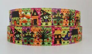 Cute Colourful Halloween Witch 22mm Grosgrain Ribbon per metre