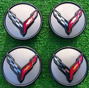 Factory GM Chevrolet Corvette Center Caps OEM C7 C8 Wheel Set 4 New Carbon Flash