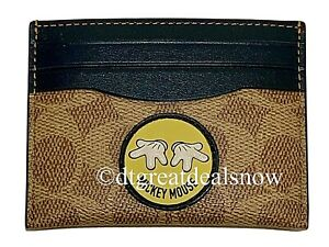 NEW Disney X Coach Mickey Mouse Card Case In Signature Canvas With Patch 69241
