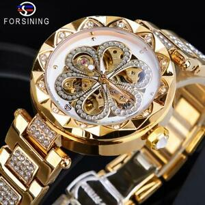 Forsining Mechanical Automatic Watch Golden Stainless Steel Ladies Xmas Gift Her