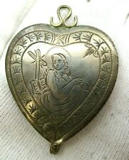 Antique Sterling Silver Communion Wafer Hidden Compartment Heart Reliquary 1700s