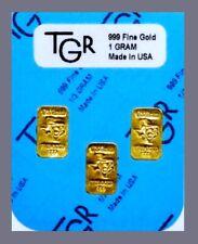 [3]  1/3 GRAM  999 FINE GOLD BULLION BARS - TGR CERTIFIED HOLOGRAM - MADE IN USA