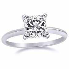 1.33 Ct Princess Cut Solitaire Engagement Wedding Ring 14K White Gold Finish