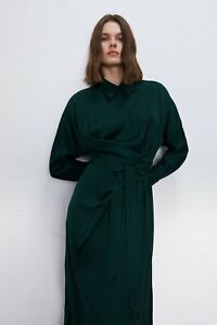 ZARA viscose midi wrap dress - emerald green, long sleeve, collar