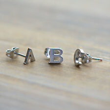 1 Single Letter Alphabet Earring Stud - Initial Earrings SILVER 6mm Letter Posts