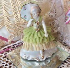 """Vintage Thames Japan 4 3/8"""" Porcelain Parasol Lady w/Lace Ruffles Accents"""