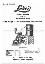 Lister L Stationary Engine Instruction Book.