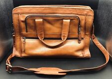 Mens leather Made In Columbia Tan/Brown Leather Briefcase Messenger Cross Body