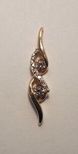Sirena Collection - Overlap Twist Design - Diamonds - 14K Yellow Gold - Pendant
