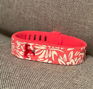Tory Burch for Fitbit Silicone Printed Bracelet Pink/White