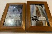 Lot Of 2 - 4x6 Solid Wood Picture Frame Tropical Wood Finish - Cracked Glass